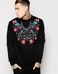 Black Scale Sweatshirt With Embroidery