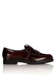 Tod's Gomma Fringed Lace Up Shoes Burgundy