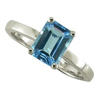Ewa 9Ct White Gold Baguette Ring Blue Topaz