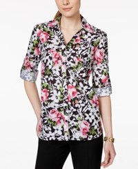 Ny Collection Floral Button Down Shirt