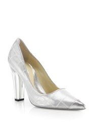 Moschino Reflective Lucite Heel Pumps Silver