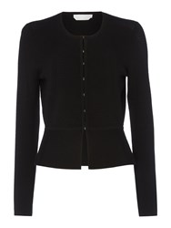 Hugo Boss Fadra Round Neck Peplum Cardigan Black