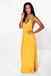 Boohoo Pom Pom Maxi Beach Dress Orange