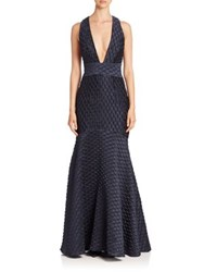 Milly Italian Bubble Jacquard Mermaid Gown Navy