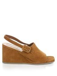 Rachel Comey Vista Corduroy Slingback Wedge Sandals Tan