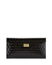 St. John Logo Embossed Patent Envelope Clutch Bag Black