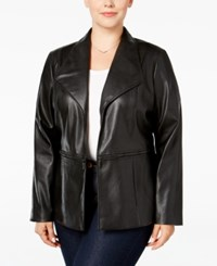 Alfani Plus Size Faux Leather Open Front Jacket Only At Macy's Deep Black