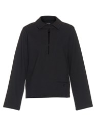 Christophe Lemaire Point Collar Stretch Cotton Sweatshirt Navy