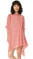 Marques Almeida Asymmetrical Raw Hem Shirtdress Orange Gingham