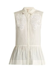 Rebecca Taylor Medallion Lace Sleeveless Cotton Poplin Top White