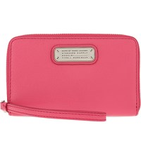 Marc By Marc Jacobs Wingman Leather Zip Around Wristlet Wallet Bright Rosa