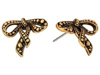 Marc Jacobs Small New Bow Studs Earrings Antique Gold
