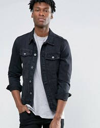 Pull And Bear Pullandbear Denim Jacket With Abrasions In Black Black