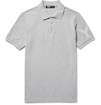 Y 3 Slim Fit Printed Cotton Pique Polo Shirt Light Gray