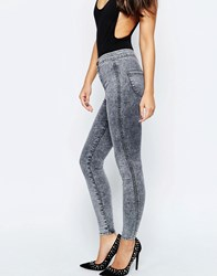 Asos Rivington High Waist Denim Jeggings In Gray Mottled Wash Gray
