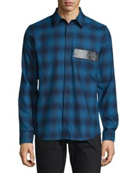 Givenchy Plaid Flannel Shirt W Leather Stars Patch Blue Black