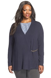 Ellen Tracy Chain Closure Cardigan Plus Size Navy