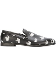 Dolce And Gabbana Crown Print Slippers Black