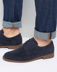 New Look Faux Suede Derby Shoes In Navy Navy