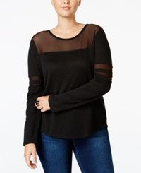 Extra Touch Trendy Plus Size Mesh Inset Top Black