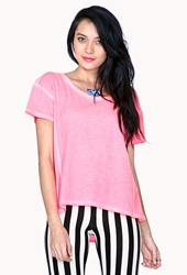 Forever 21 Mineral Wash Tee Neon Pink