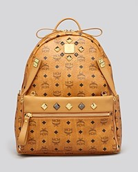 Mcm Backpack Stark Medium Dual Pocket Sprinkle Stud Cognac