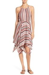 Soprano Women's Stripe Handkerchief Hem Halter Dress Dusty Rose Stripe