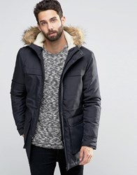 Only And Sons Parka With Faux Fur Borg Lined Hood Navy
