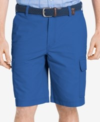 Izod Men's Big And Tall Lightweight Poplin Cargo Shorts Blue Revival