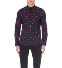 Paul Smith Love Hearts Slim Fit Cotton Shirt Navy