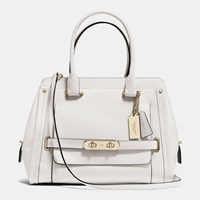 Coach Swagger Frame Satchel In Calf Leather Light Gold Chalk
