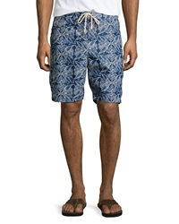 Tailor Vintage Ikat Starfish Print Swim Trunks Blue