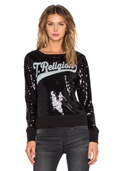 True Religion Sequin Crew Sweatshirt Black And White