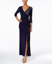 R And M Richards Lace Faux Wrap Dress Navy
