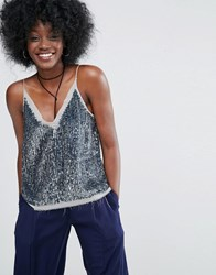 Asos Sequin Cami Top With Raw Edge Detail Silver