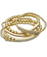 Bar Iii Gold Tone Pave Bar Beaded Stretch Bracelet Set