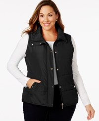 Styleandco. Style And Co. Sport Plus Size Quilted Snap Button Vest Only At Macy's Deep Black