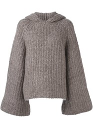 See By Chloe Ribbed Hooded Jumper Nude Neutrals