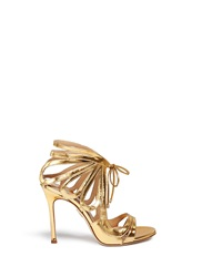 Chelsea Paris 'Ada' Mirror Leather Caged Sandal Booties Metallic