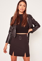Missguided Black Circular Ring Front Crepe Split Hem Mini Skirt