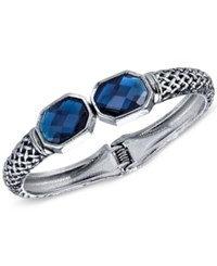 2028 Faceted Stone Hinged Bangle Bracelet Silver
