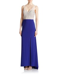 Hailey Logan Glittered Bodice Colorblock Gown Electric Blue