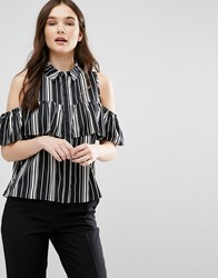 Influence Cold Shoulder Striped Top Black