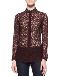 Carven Lace Blouse With Plaid Collar
