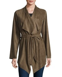 Neiman Marcus Faux Suede Belted Jacket Green