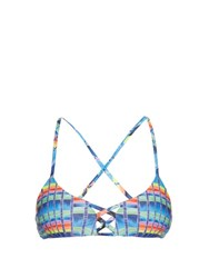 Mara Hoffman Flight Azure Print Cross Back Bikini Top Blue Multi