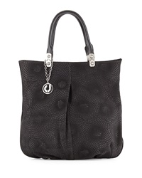 Charles Jourdan Felicia Swirl Stamped Leather Tote Black