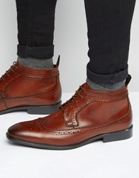 Asos Brogue Chukka Boots In Brown Leather Brown