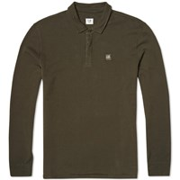 C.P. Company Long Sleeve Cotton Felpa Polo Olive