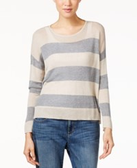 Eileen Fisher Striped Scoop Neck Top Maple Oat